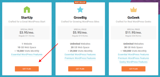 Siteground-startup-plan